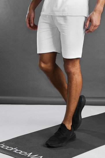 White MAN Active Mid Length Shorts