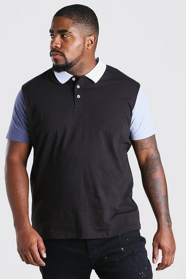 Black Big And Tall Colour Block Polo