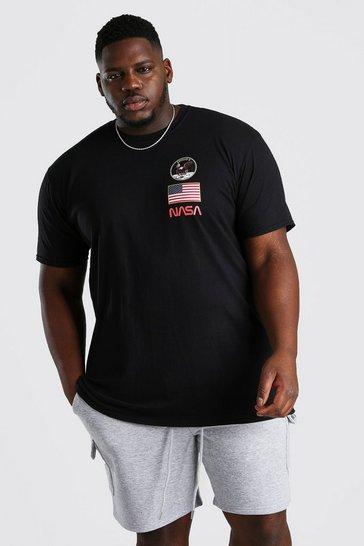 Black Big And Tall NASA Apollo Print License T-Shirt