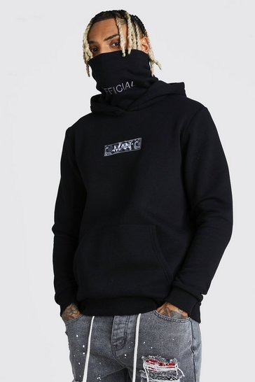 Black MAN Official Snood Hoodie With Bandana Box