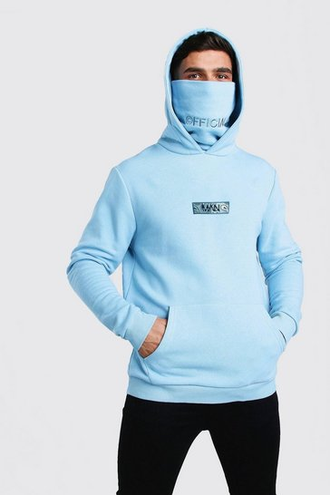 Blue MAN Official Snood Hoodie With Bandana Box