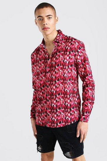 Pink Long Sleeve Abstract Print Shirt