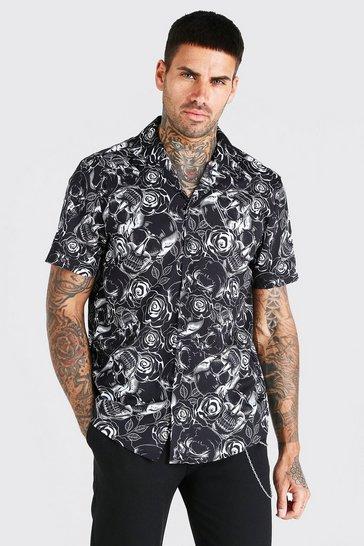 Black Short Sleeve Skull Print Shirt