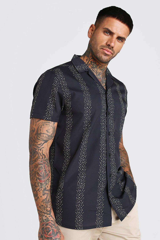 Рубашка в полоску с отложным воротником и короткими рукавами фото