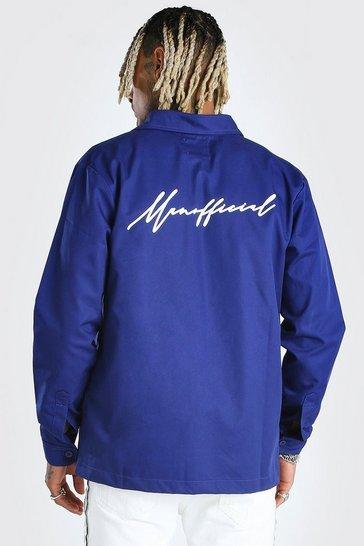 Blue MAN Official Script Back Print Overshirt