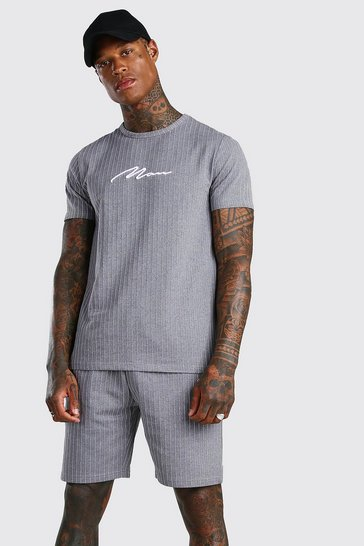Grey MAN Signature Stripe T-Shirt & Short Set