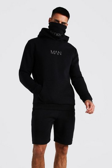 Black MAN Snood Hooded Short Tracksuit