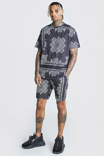 Black Bandana Print T-Shirt & Short Set