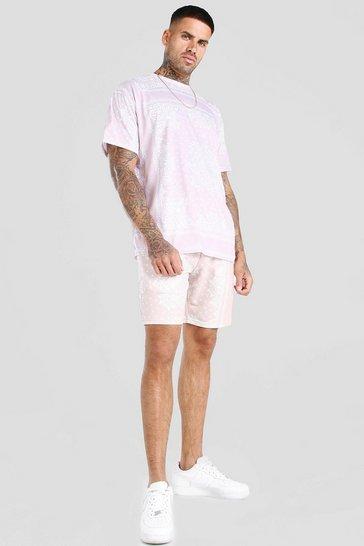Dusky pink Bandana Print T-Shirt & Short Set