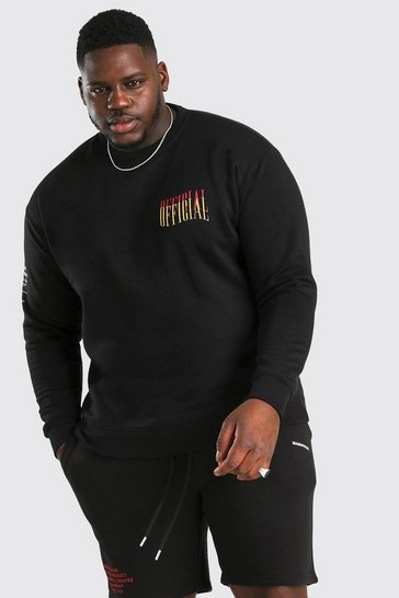 Black Big And Tall Loose Fit MAN Official Sweater