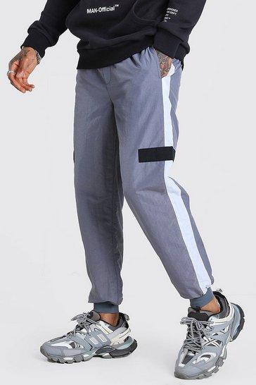 Grey Official MAN Shell Colour Block Jogger