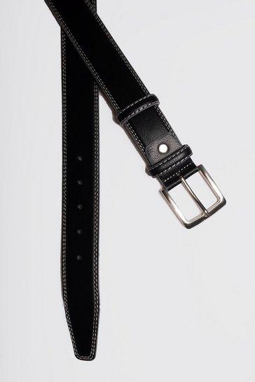 Black Contrast Stitch Belt