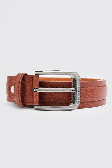 Brown Contrast Stitch Belt