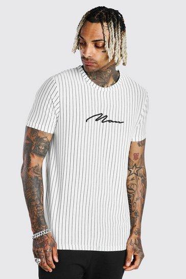White MAN Signature Vertical Jacquard Stripe T-Shirt