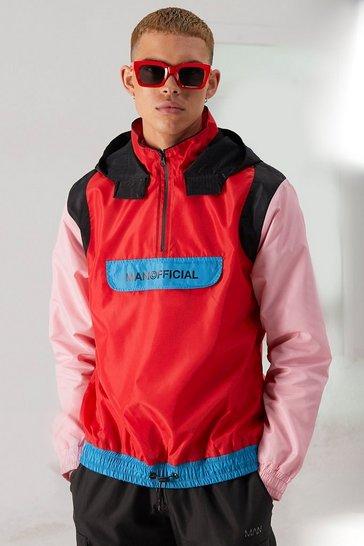 Multi MAN Official Front Pocket Colour Block Cagoule
