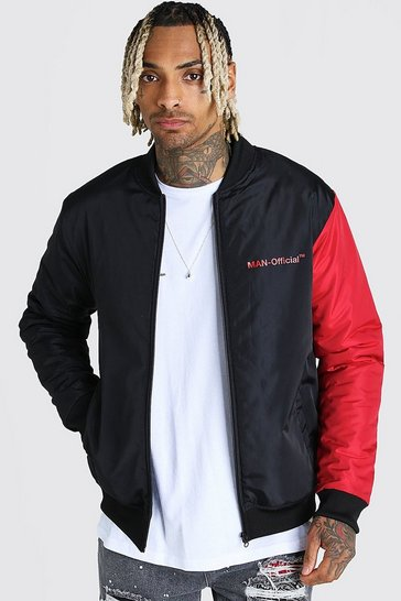 Red MAN Official Padded Colour Block Sleeve Bomber