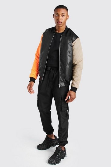 Black MAN Official Colour Block Padded Bomber
