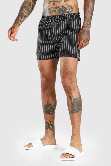 Black Mid Length Pin Stripe Swim Short