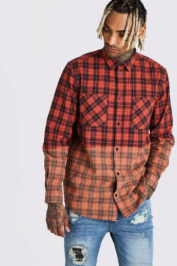 Orange Long Sleeve Ombre Check Shirt