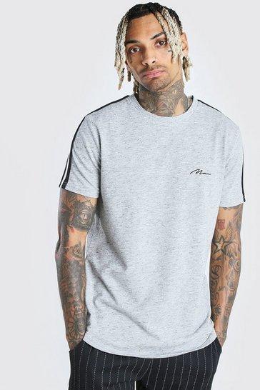 Grey Longline MAN Signature Tape T-Shirt With Curved Hem