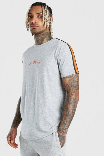 Grey MAN Signature Curved Hem T-Shirt With Sleeve Tape