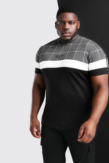 Black Big And Tall MAN Roman Jacquard Panel T-Shirt