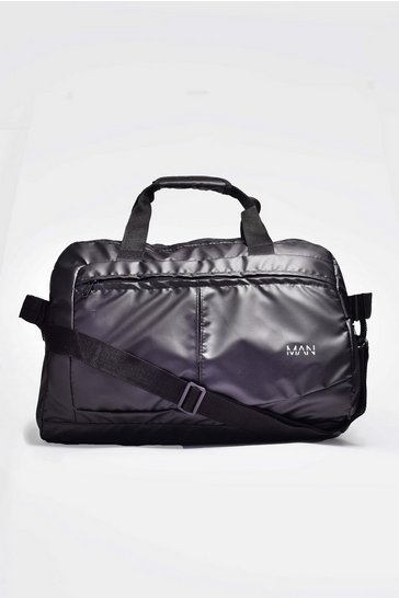 Black MAN Print Coated Nylon Holdall