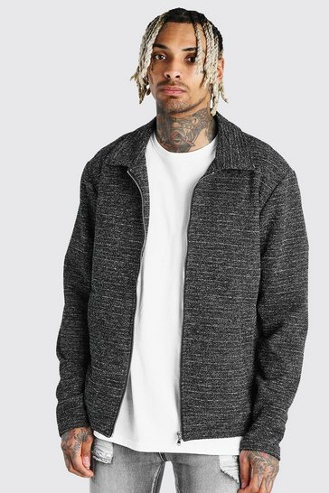 Black Boucle Wool Look Harrington Jacket