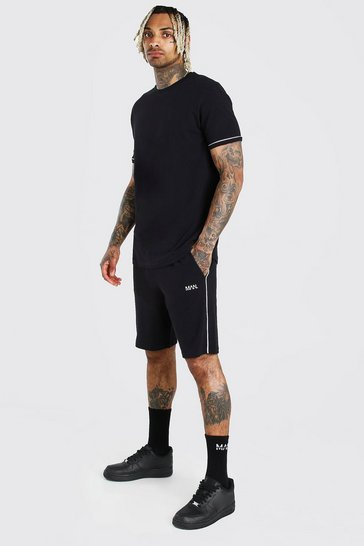 Black Pique T-Shirt And Short Set With Piping