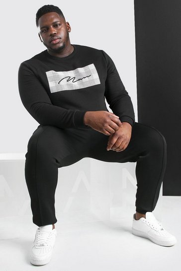 Black Big And Tall MAN Signature Jacquard Sweatshirt