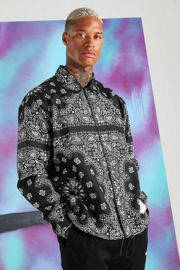 Black Quavo Bandana Print Coach Jacket