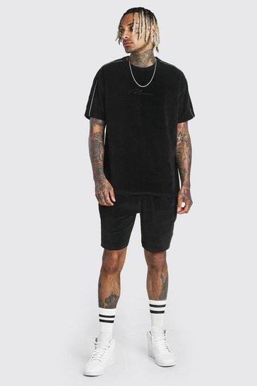 Black MAN Signature Towelling T-Shirt & Short Set