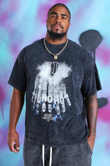 Black Big And Tall Quavo Fingers Print T-Shirt