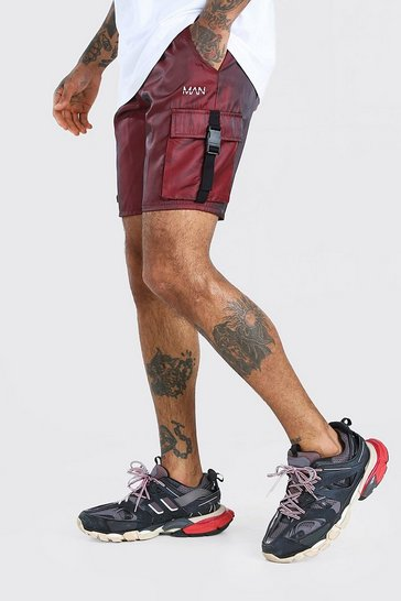 Red MAN Iridescent Shell Cargo Shorts With Buckles