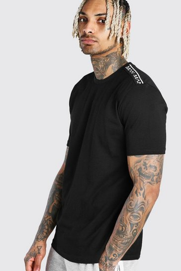 Black MAN T-Shirt With Tape Detail