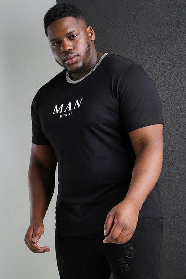 Black Big And Tall MAN Roman Jacquard Neck T-Shirt
