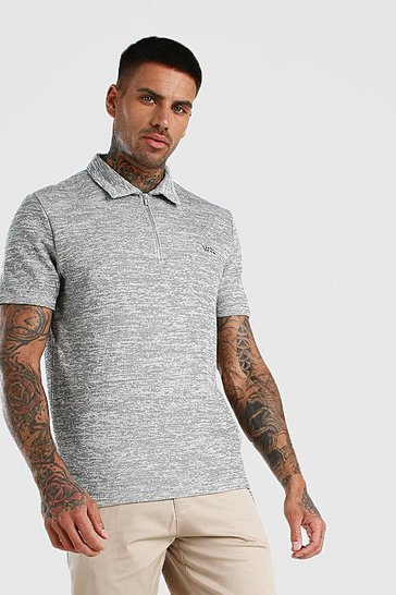 Grey Smart Jacquard Zip Polo With Woven Badge