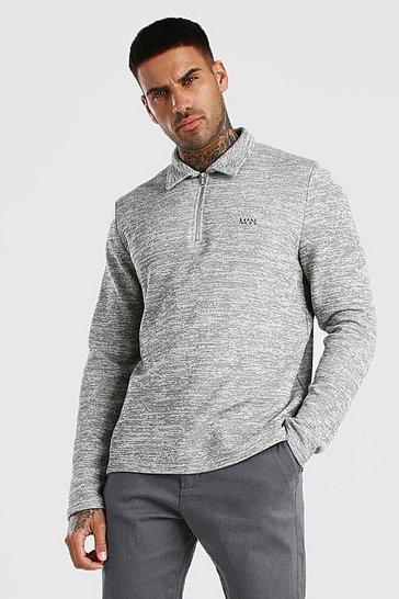 Grey Smart Jacquard Long Sleeve Zip Polo
