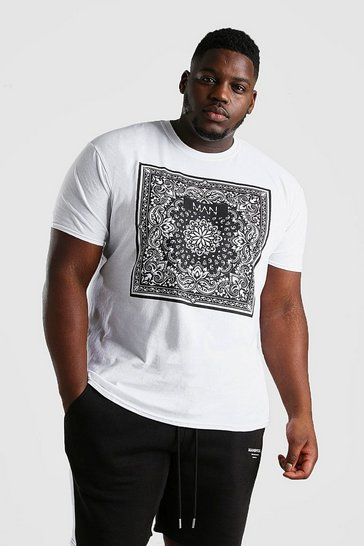 White Big And Tall Original MAN Bandana Print T-Shirt