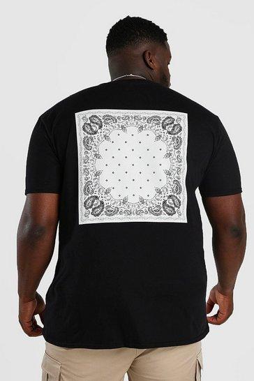 Black Big And Tall MAN Bandana Back Print T-Shirt