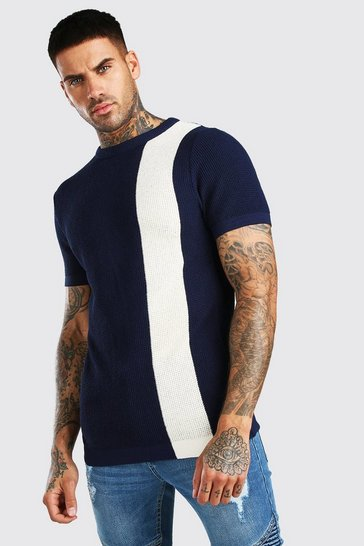Navy Colour Block Knitted T-Shirt