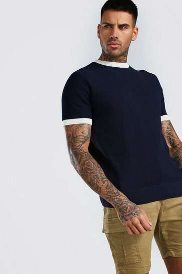 Navy Textured Knitted T-Shirt With Contrast Trims