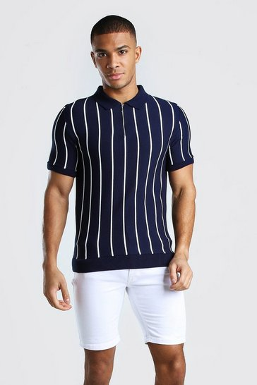 Navy Muscle Fit Pinstripe Knitted Polo