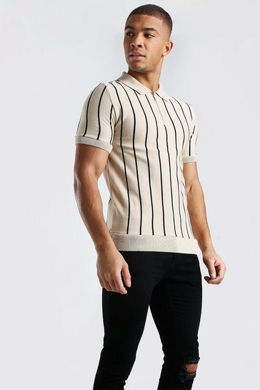 Camel Muscle Fit Pinstripe Knitted Polo