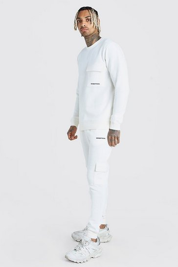 Ecru Offical MAN Cargo Sweater Tracksuit