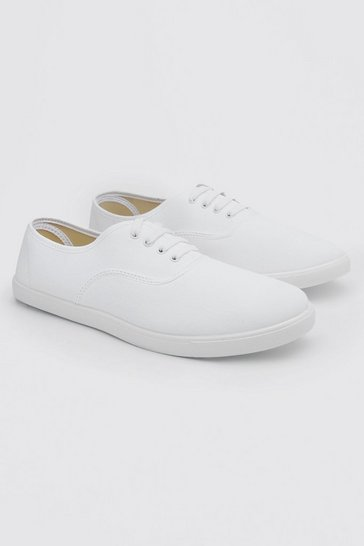 White Basic Lace Up Plimsoll