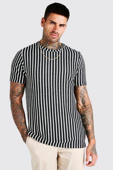 Black Vertical Jacquard Stripe T-Shirt