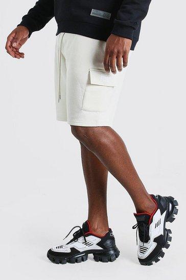 Ecru Big And Tall Cargo Jersey Multi Branding Shorts