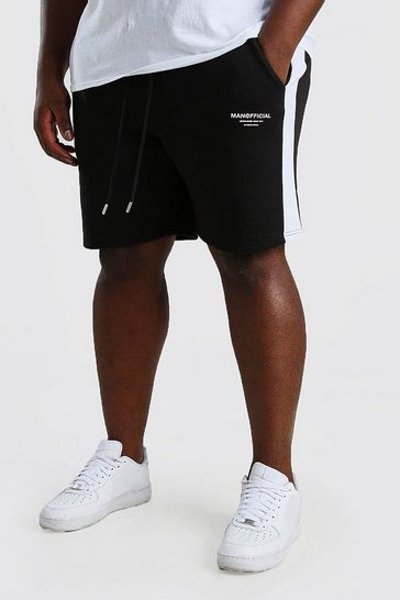 Black Big And Tall MAN Official Short With Side Panel