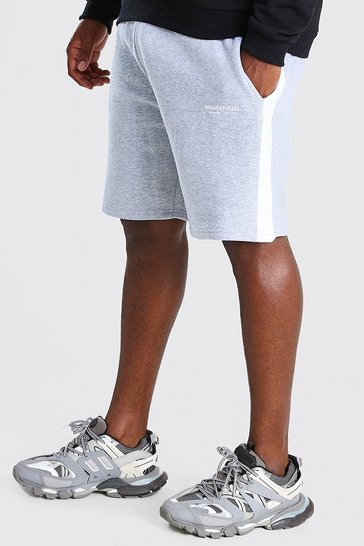 Grey Big And Tall MAN Official Short With Side Panel